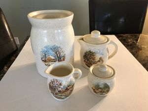 Ceramic Cookies jar, milk pitcher, creamer pitcher and sugar container of set Canister Set for Sale in Spring Valley, CA