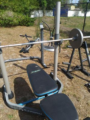 Proform bench with squat rack weights for Sale in Tampa, FL