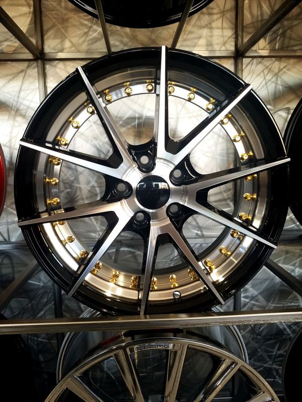 18x8 5x114 +35 black machine wheels with gold rivets rims fit Honda Toyota Hyundai Kia