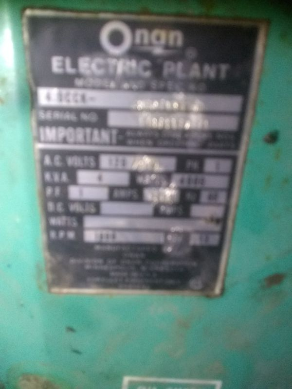 Onan 4000w generator