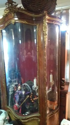 Gorgeous hand painted gold guilded china cabinet from a castle circa 1600's all pink crushed valour lined & in excellent condition for Antique for Sale in Peabody, MA