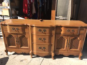 French provincial basset solid wood buffet tv stand entertainment center for Sale in Rancho Cucamonga, CA