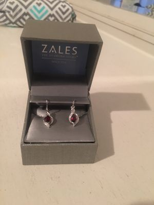 Beautiful dangle garnet earrings with diamonds and matching necklace for Sale in Mesa, AZ