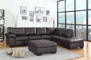 Extra large espresso Sectional with ottoman ( new) for Sale in San Mateo, CA