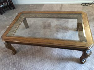 Glass Top Wooden Coffee Table for Sale in Irvine, CA