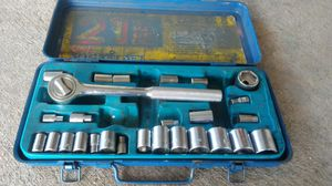Blue Tool Box w Ratchet and Socket Wrenches for Sale in Aurora, CO