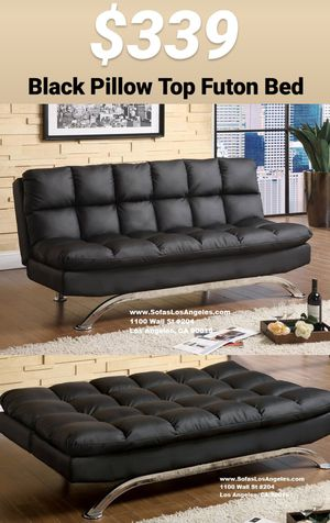 Yes We Finance 😁 Black Pillow Top Couch Sofa Futon Bed Sofas Futons for Sale in Bellflower, CA