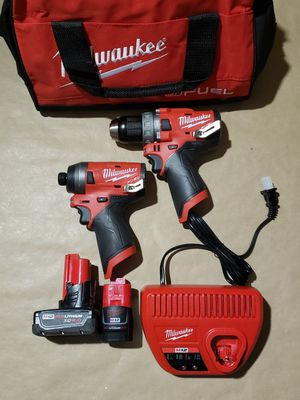 Milwaukee M12 FUEL 12-Volt Lithium-Ion Brushless Cordless Hammer Drill and Impact Driver Combo Kit (2-Tool) w(2) Batteries & Bag for Sale in Greenville, SC