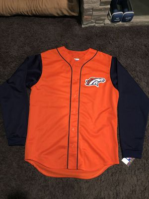 men's nfl majestic merchandise denver broncos rare long sleeve baseball style mesh jersey for Sale in Claremont, CA