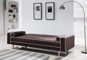 BROWN LINEN FUTON SOFA ADJUSTABLE BED / SILLON CAMA for Sale in Riverside, CA