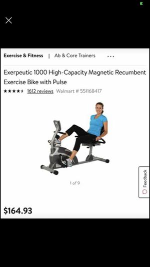 Exerpeutic 1000 High-Capacity Magnetic Recumbent Exercise Bike with Pulse, $110! for Sale in Kennesaw, GA
