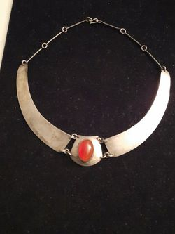 Sterling Silver Necklace with Natural Orange Stone for Sale in Hyattsville,  MD