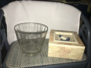 Glass ice bucket, sailboat wall decoration, and anchor box set for Sale in Dublin, OH
