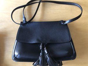 GUCCI Pebbled Calfskin Medium Bamboo Daily Flap Shoulder Bag Black for Sale in Glendale, CA
