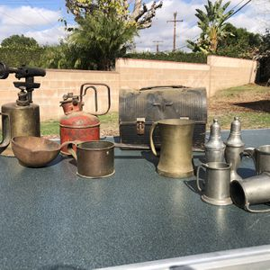 Assorted Decor Palm Trees Lanterns Man Cave She Shed Garage Lights Vintage Tools Box Steel Pewter for Sale in West Covina, CA