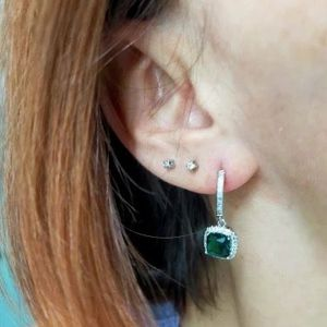 Luxurious Silver Earrings - Green Square for Sale in San Diego, CA