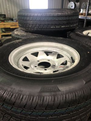 """14"""" 5 lug trailer tires. 205/75/14 on galv 5 lug rims. Makes great boat trailer tires - we will install on your trailer for free - new date codes for Sale in Plant City, FL"""