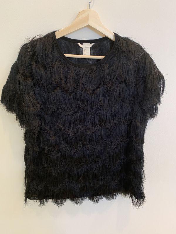 H&M HM black fringe shirt small