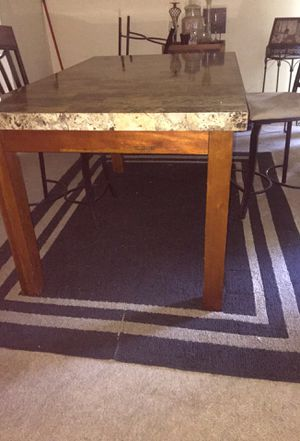 Granite top wood dining table w/ chair and leg lifts for Sale in Peoria, IL