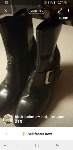black leather low thick heel boots for Sale in Rochester, MN