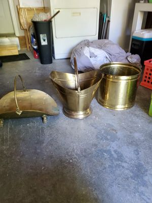 Brass,Ash/coal bucket,magazine holder and plant pot. for Sale in Lexington, KY