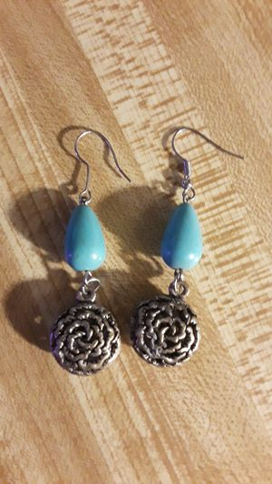 Turquoise drop earrings with rose detail for Sale in Los Angeles, CA