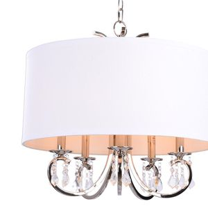 H.D.C. 5-Light Nickel Chandelier with Linen Drum Shade and Glass Beads for Sale in Dallas, TX