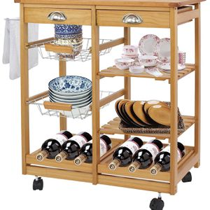 4-Shelf Kitchen Storage Island Cart Rack Wood Dining Trolley w/Drawers Basket Stand Home Kitchen Shelves and Organizer w/Wheels for Sale in Monterey Park, CA