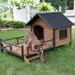 Large Solid Wood Outdoor Dog House with Spacious Deck Porch for Sale in Fresno, CA