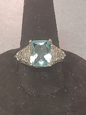 Brand new womens stamped 925 sterling silver princess cut genuine aquamarine gemstone engagement ring or promise ring several sizes available for Sale in NW PRT RCHY, FL