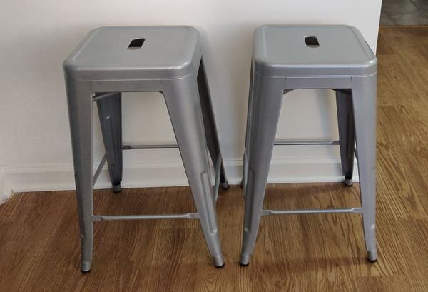 Stackable Counter Metal Stools (Set of 2) - Like New