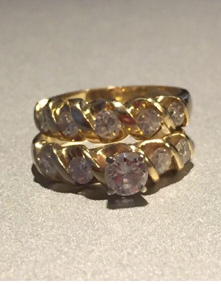 Wedding Ring set total weight 1.21 CT's 14K Gold