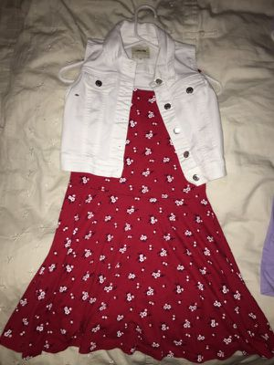 Girls red floral print dress with white jean cut off top for Sale in Midvale, UT