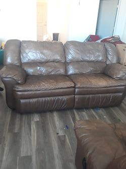 Brown leather couch, a gas lit grill for Sale in West Jordan,  UT