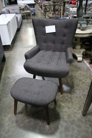 HL33 Asphalt Gray Accent Chair with Ottoman for Sale in US