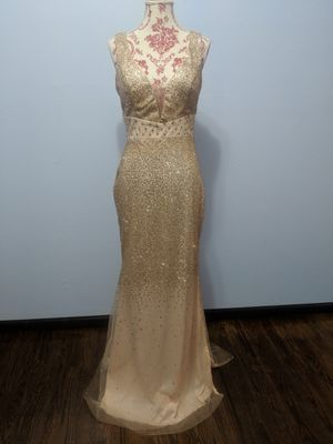 Summer Satin Ruffle Long Gold Dress for Sale in St. Peters, MO