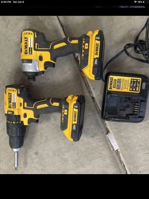 Dewalt 20v max XR Hammer Drill driver and Impact Driver with 2 batteries charger and carry case combo kit for Sale in Phoenix, AZ
