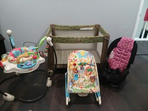 Graco pack N play, Fisher price JUMP for lights bouncer, calming vibrations rocker. Car seat for Sale in Wyoming, OH
