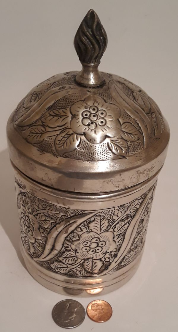 """Vintage Silver Plated Metal Container, Storage Box, Stash Box, 7 1/2"""" x 4"""", Heavy Duty Quality, Flower Design, This Can Be Shined Up Even More"""