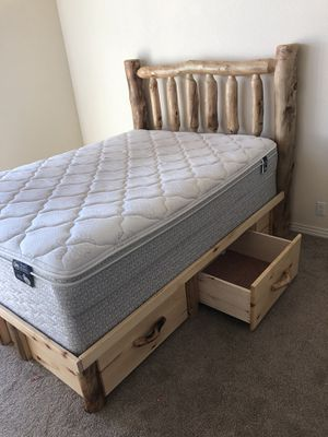 Queen size captain's bed complete w/ mattress and box spring for Sale in Colorado Springs, CO