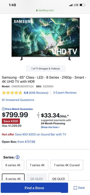 Samsung 65inch 8 series NEW for Sale in Bloomington, IL