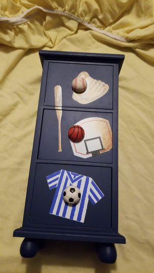 Sports themed, 3 little drawers, Small cabinet, Sits on a table or desk for Sale in Riverside, CA