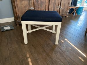 Adorable white farm bench with dark denim seat for Sale in Fullerton, CA
