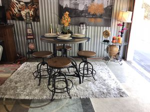 Farmhouse pub style table & 4 stools ONLY😍Not selling separate-No deliver for Sale in Garner, NC