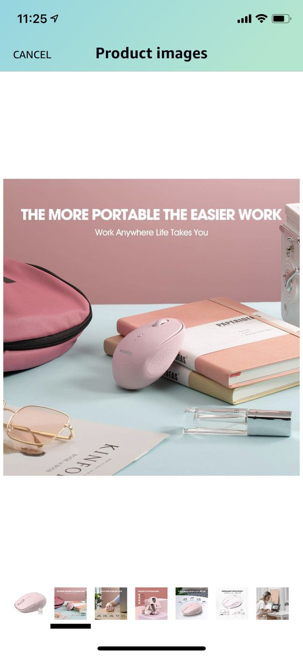 VicTsing Wireless Mouse, Noiseless Mouse, Silent Cordless Mouse, 3200 DPI 2.4G Ergonomic Mouse for Adult and Kids, Portable Mouse for Laptop, Pink