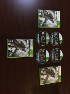 3 Watch Dogs games (XBOX 360) 3 installation discs, 1 game disc for Sale in Austin, TX