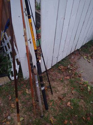Fishing polls rods lot vintage and newer 1- 9ft newer black and yellow rod for Sale in Kings Park, NY
