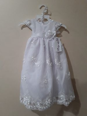 New White Baptism Christening Dress Gown Size 6-9 Months for Sale in Hacienda Heights, CA