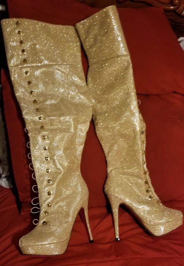 AMI YH-20 GLIT Gold Thigh Hi Stiletto Boots