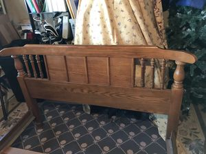 Solid Oak bed frame for full sized bed 56 x 84. $25 for Sale in Geneva, IL